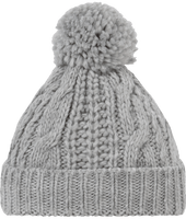 Knit knit hat with pompom