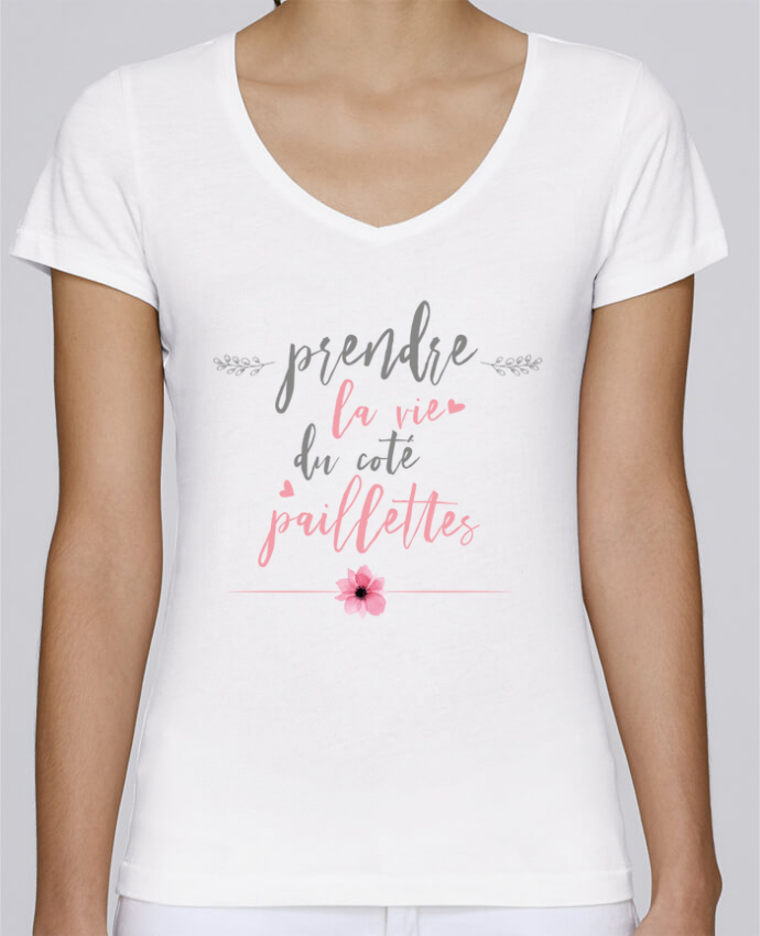 T-Shirt V-Neck Women Stella Chooses Prendre la vie du coté paillettes by tunetoo