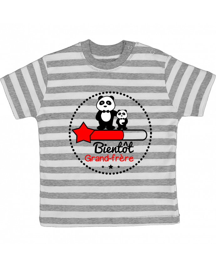 T-shirt baby with stripes Bientôt grand-frère , futur grand frère by Benichan