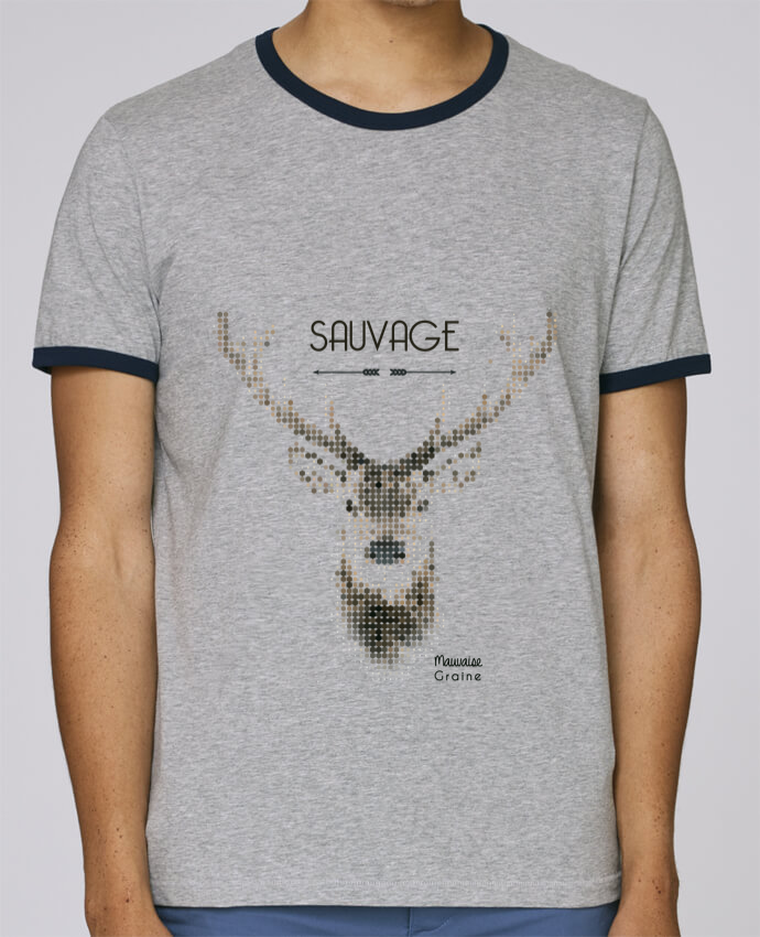 Stanley Contrasting Ringer T-Shirt Holds Tête de cerf sauvage pour femme by Mauvaise Graine