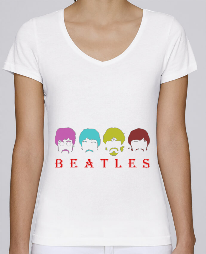 T-Shirt V-Neck Women Stella Chooses BEATLES by LOGOPAT