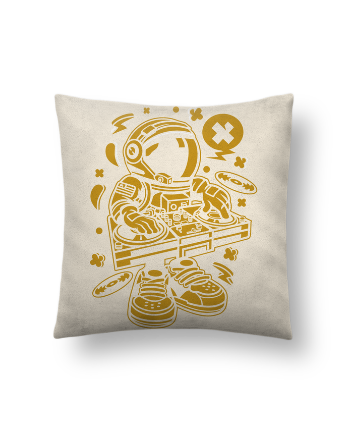 Cushion suede touch 45 x 45 cm Dj Astronaute Golden Cartoon | By Kap Atelier Cartoon by Kap Atelier