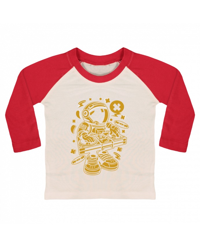 T-shirt baby Baseball long sleeve Dj Astronaute Golden Cartoon | By Kap Atelier Cartoon by Kap Atelier