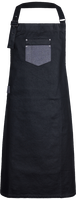 Denim bib Apron Division waxed-look with faux leather