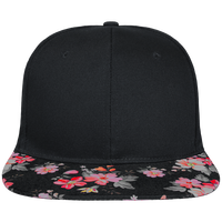 Snapback Cap visor black floral Crown pattern