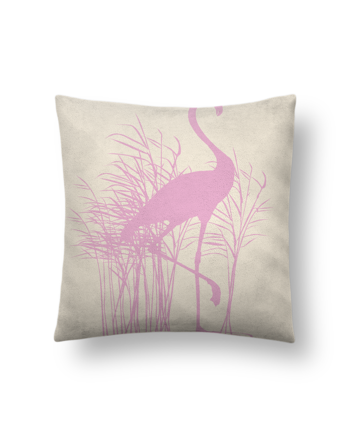 Cushion suede touch 45 x 45 cm Flamant rose dans roseaux by Studiolupi