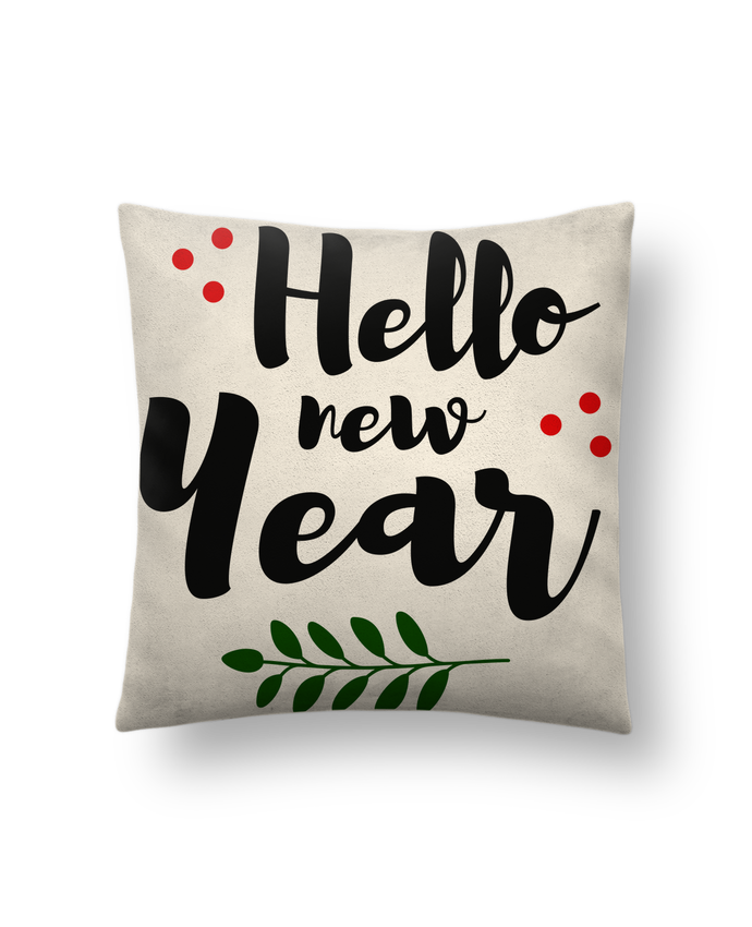 Cushion suede touch 45 x 45 cm Hello New Year by tunetoo
