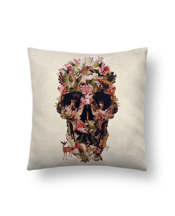 Cushion suede touch 45 x 45 cm Jungle Skull by ali_gulec