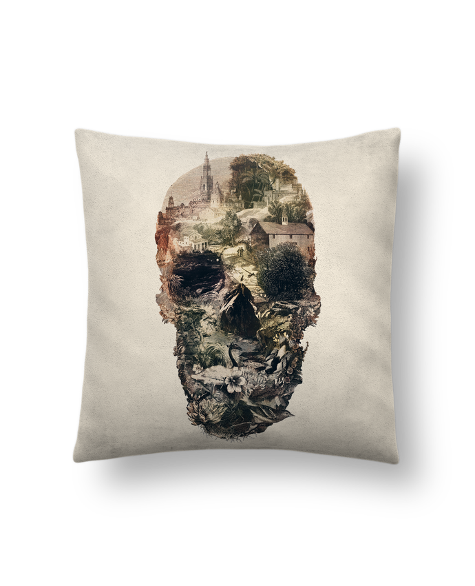 Cushion suede touch 45 x 45 cm Skull town by ali_gulec
