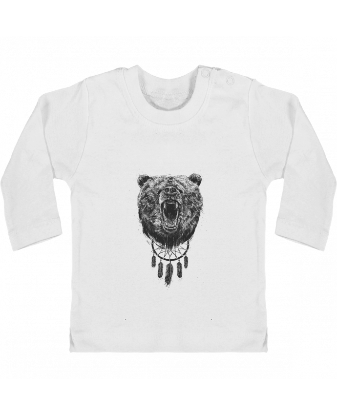 Baby T-shirt with press-studs long sleeve Angry bear with antlers manches longues du designer Balàzs Solti