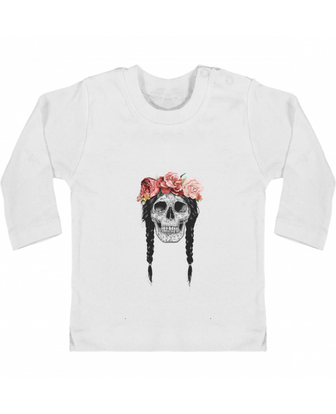Baby T-shirt with press-studs long sleeve Festival Skull manches longues du designer Balàzs Solti