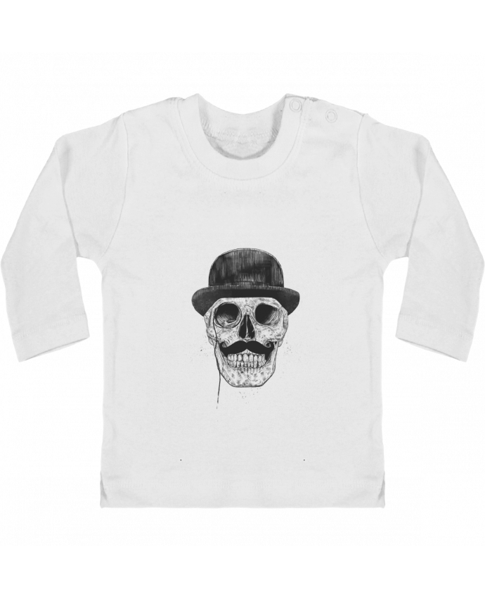 Baby T-shirt with press-studs long sleeve Gentleman never die manches longues du designer Balàzs Solti
