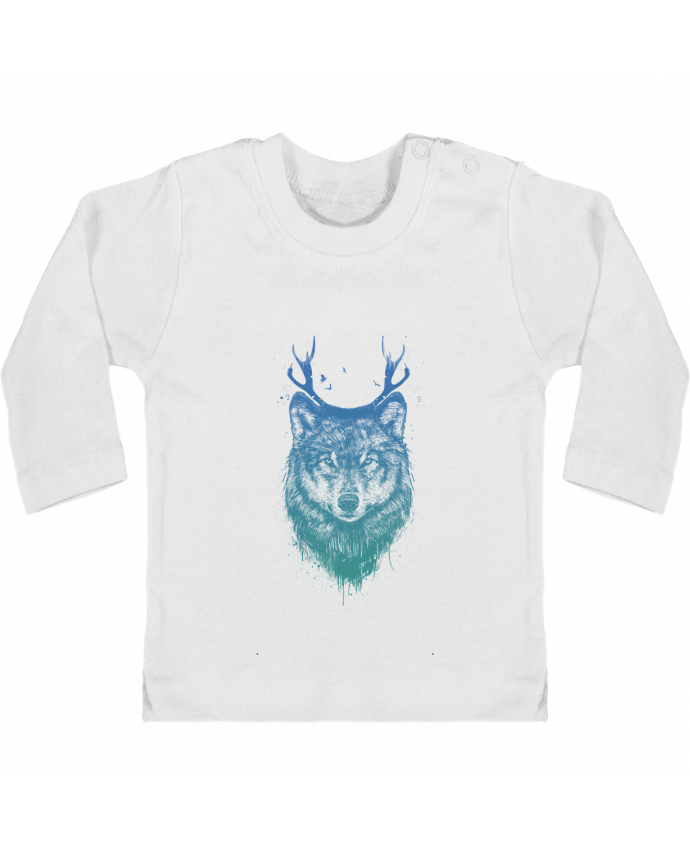 Baby T-shirt with press-studs long sleeve Deer-Wolf manches longues du designer Balàzs Solti