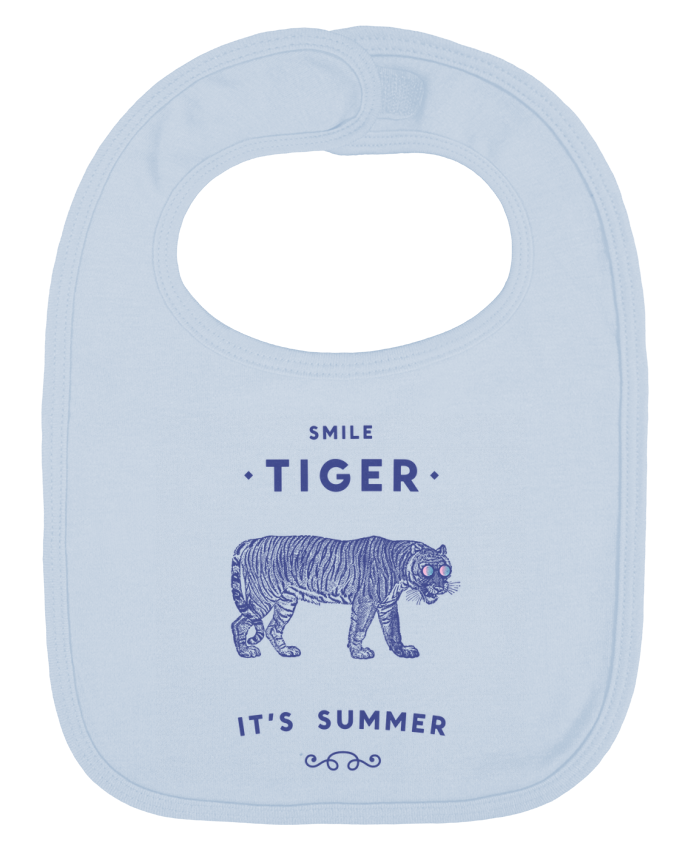 Baby Bib plain and contrast Smile Tiger by Florent Bodart