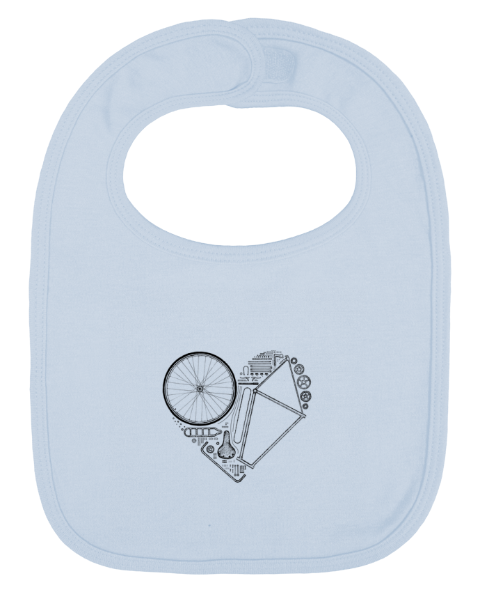 Baby Bib plain and contrast Love Bike by Florent Bodart