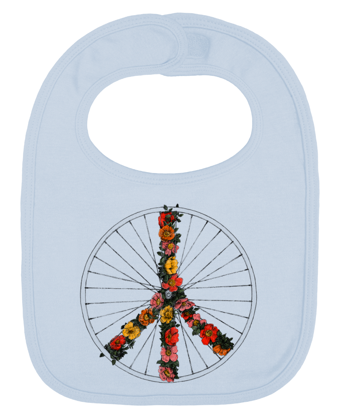 Baby Bib plain and contrast Peace and Bike by Florent Bodart