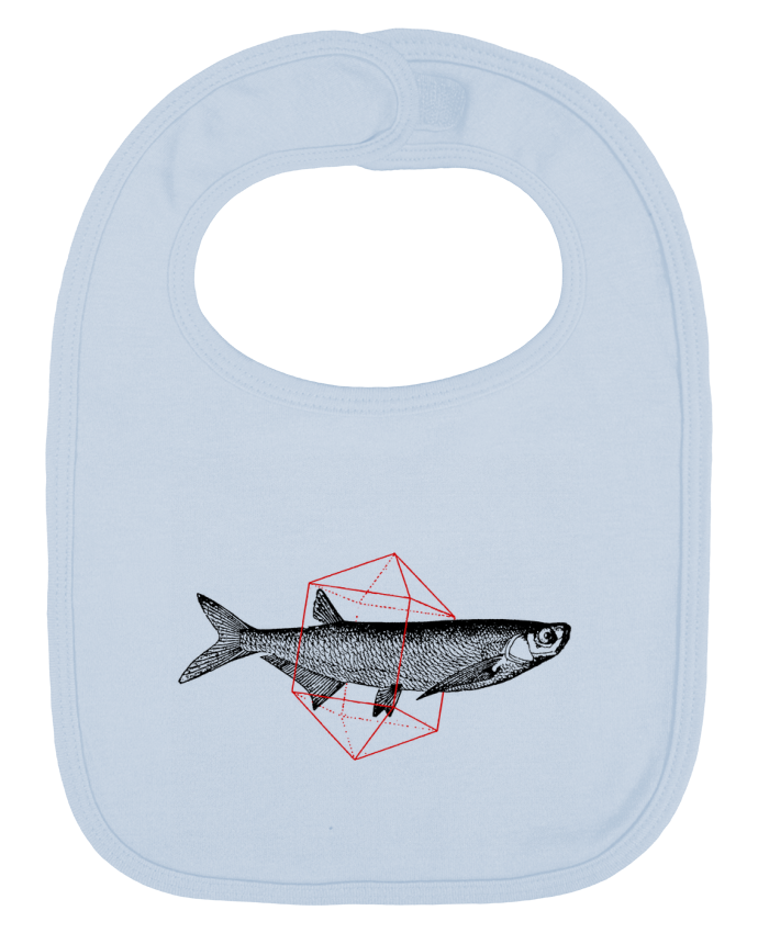 Baby Bib plain and contrast Fish in geometrics by Florent Bodart