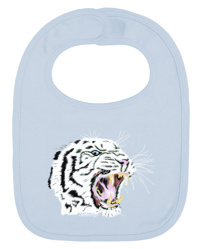 Baby Bib plain and contrast Tigre blanc rugissant by Cameleon