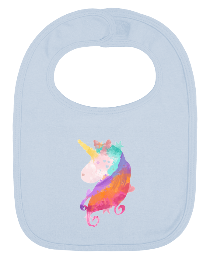Baby Bib plain and contrast Watercolor Unicorn by PinkGlitter