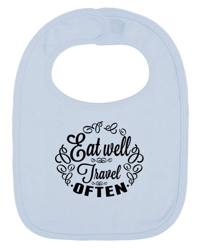 Baby Bib plain and contrast Eat well Travel often by justsayin