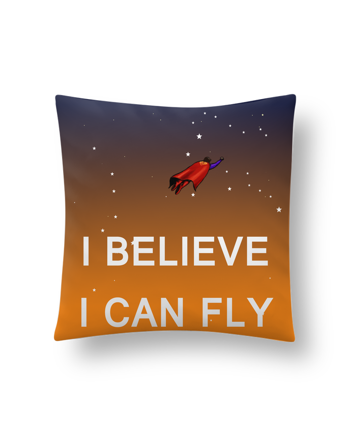Cushion synthetic soft 45 x 45 cm I believe I can fly, oui je peux! by Lia Illustration bien-être
