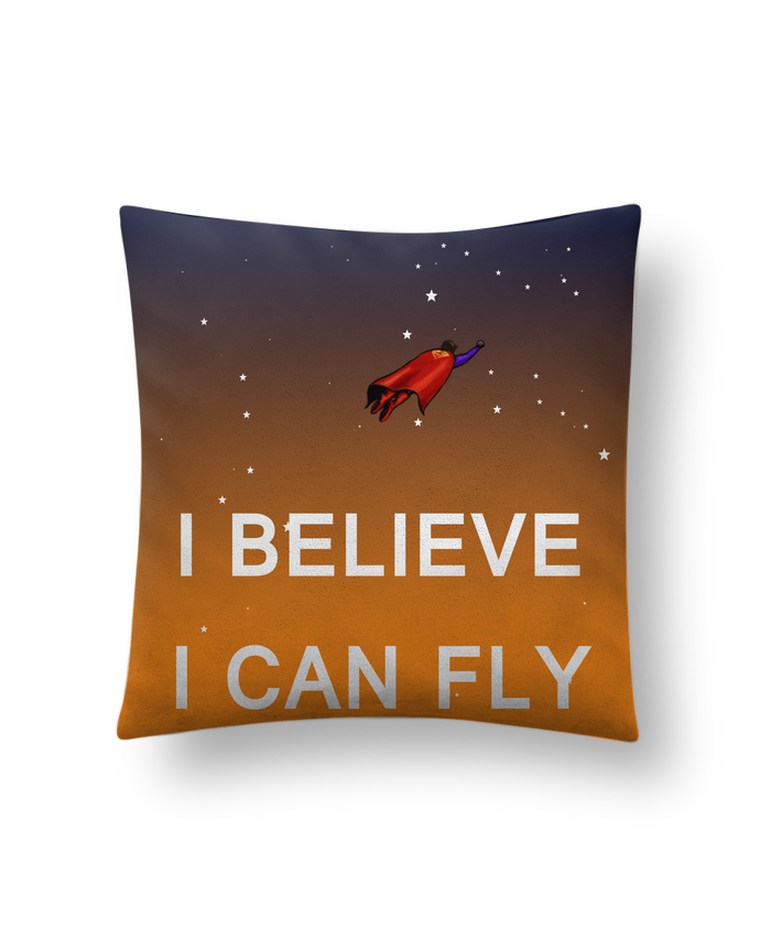 Cushion suede touch 45 x 45 cm I believe I can fly, oui je peux! by Lia Illustration bien-être
