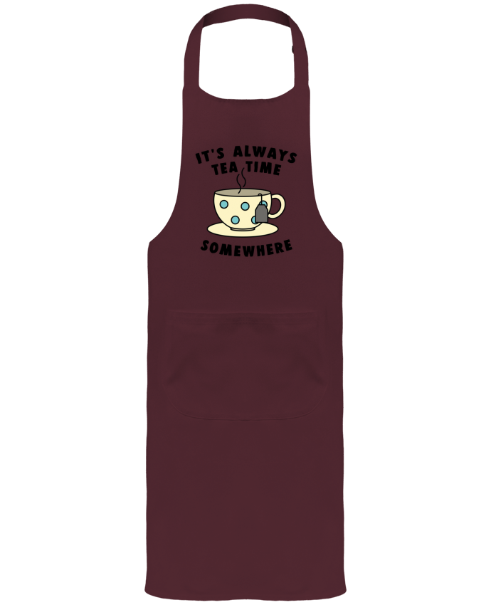 Garden or Sommelier Apron with Pocket It's always tea time somewhere by Bichette