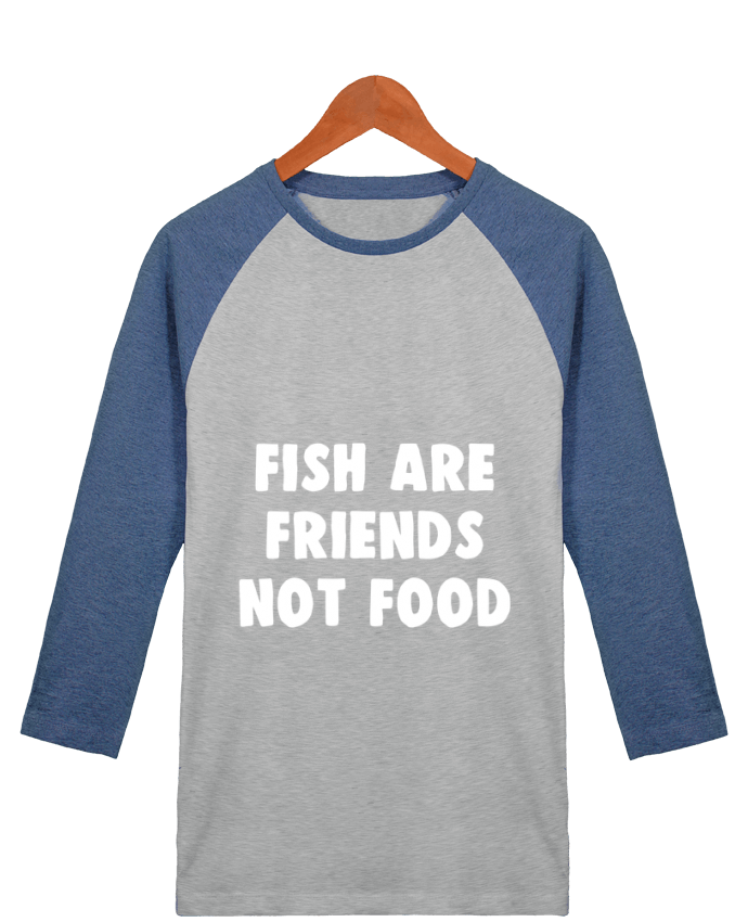T-shirt Baseball crew-neck unisex stanley stella Fish are firends not food by Bichette