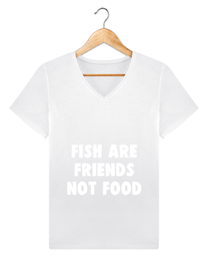 T-shirt V-neck Men Stanley Relaxes Fish are firends not food by Bichette