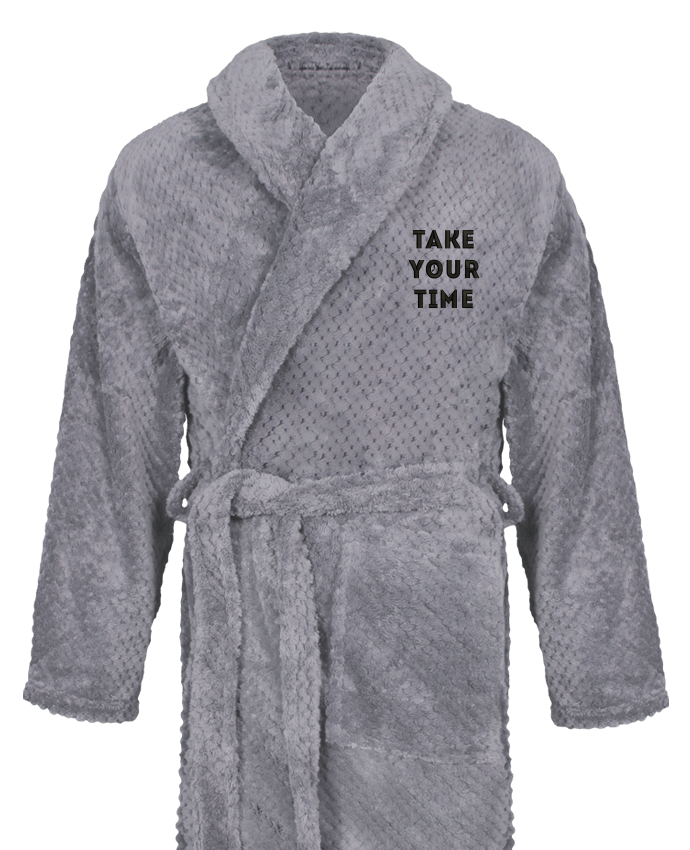 Bathrobe Men Soft Coral Fleece Take your time by tunetoo