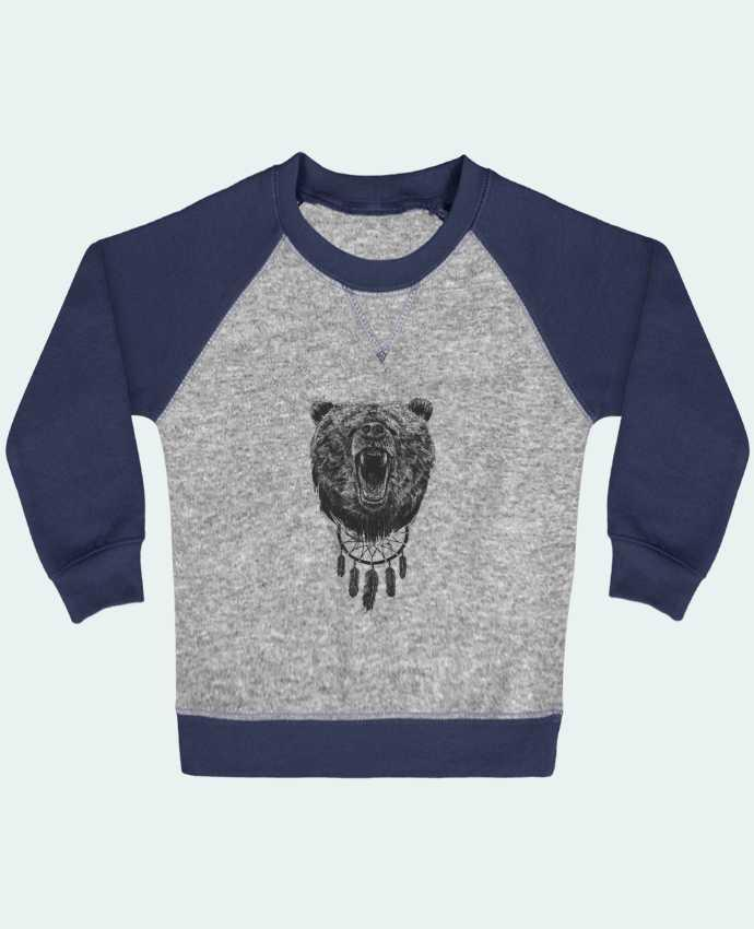 Sweatshirt Baby crew-neck sleeves contrast raglan Angry bear with antlers by Balàzs Solti