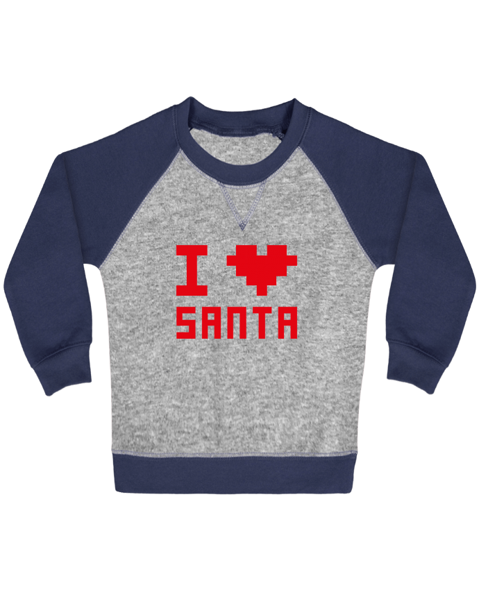 Sweatshirt Baby crew-neck sleeves contrast raglan I LOVE SANTA by tunetoo
