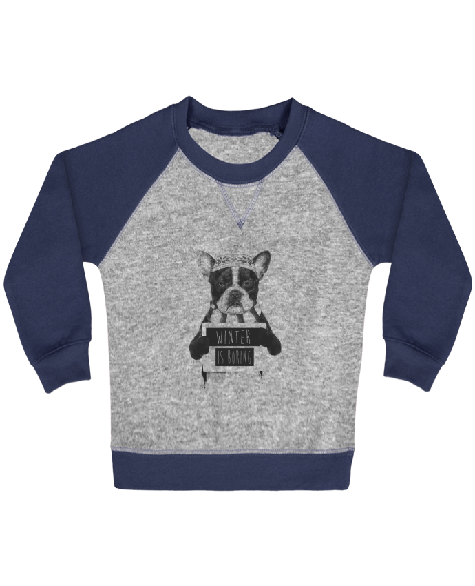 Sweatshirt Baby crew-neck sleeves contrast raglan Winter is boring by Balàzs Solti