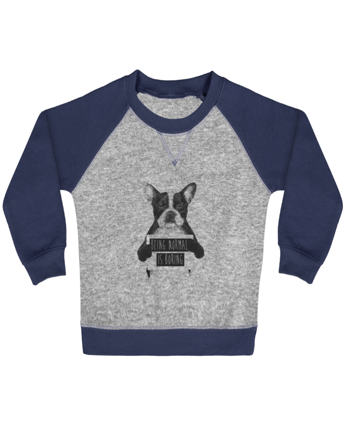 Sweatshirt Baby crew-neck sleeves contrast raglan Being normal is boring by Balàzs Solti