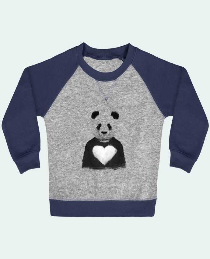 Sweatshirt Baby crew-neck sleeves contrast raglan lovely_panda by Balàzs Solti