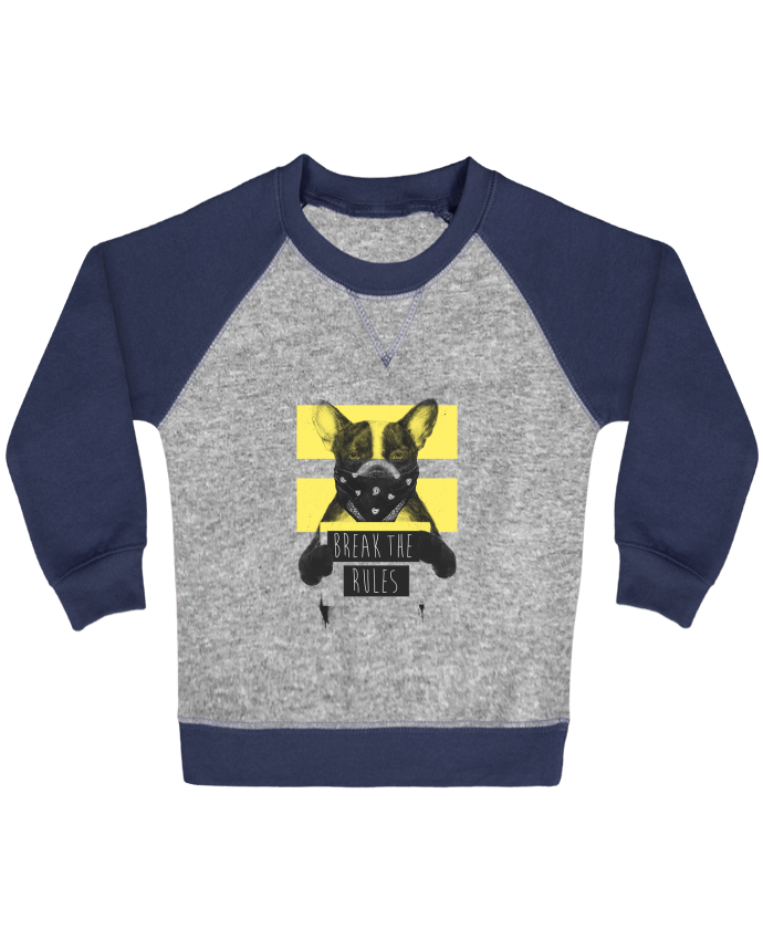 Sweatshirt Baby crew-neck sleeves contrast raglan rebel_dog_yellow by Balàzs Solti