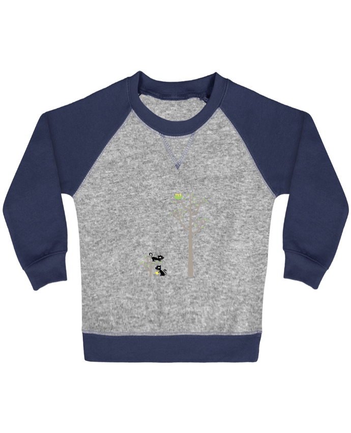 Sweatshirt Baby crew-neck sleeves contrast raglan Growing a plant for Lunch by flyingmouse365