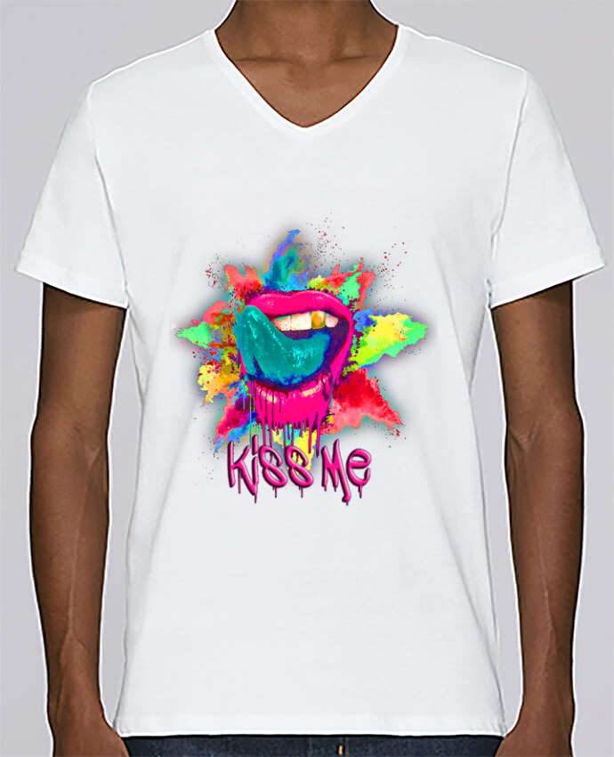T-shirt V-neck Men Stanley Relaxes Kiss Me by NotForIA