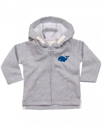 Hoddie with zip for baby Baleine coeur by WBang