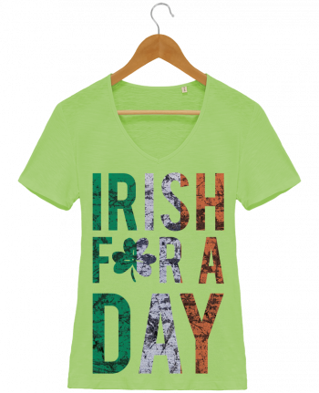 T-Shirt V-Neck Women Stella Chooses Irish for a day by tunetoo