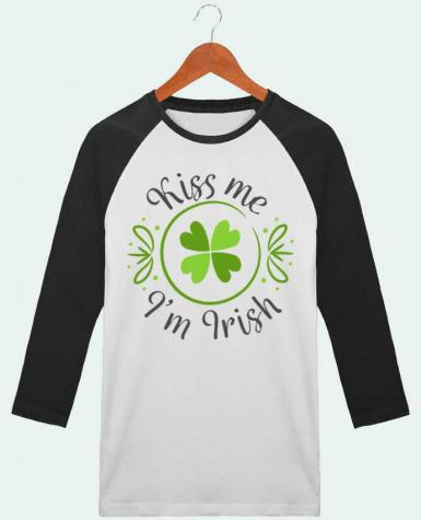 T-shirt Baseball crew-neck unisex stanley stella Kiss me I'm Irish by tunetoo