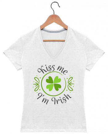 T-Shirt V-Neck Women Kiss me I'm Irish by tunetoo