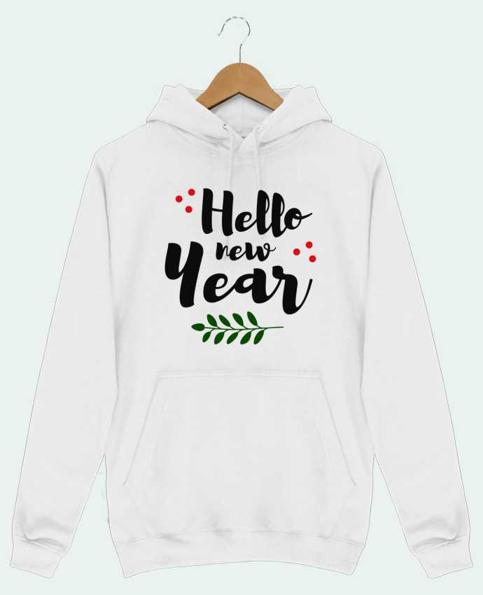 Hoodie Men Hello New Year by tunetoo