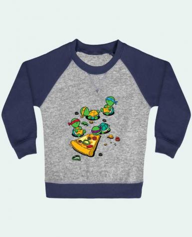 Sweatshirt Baby crew-neck sleeves contrast raglan Pizza lover by flyingmouse365