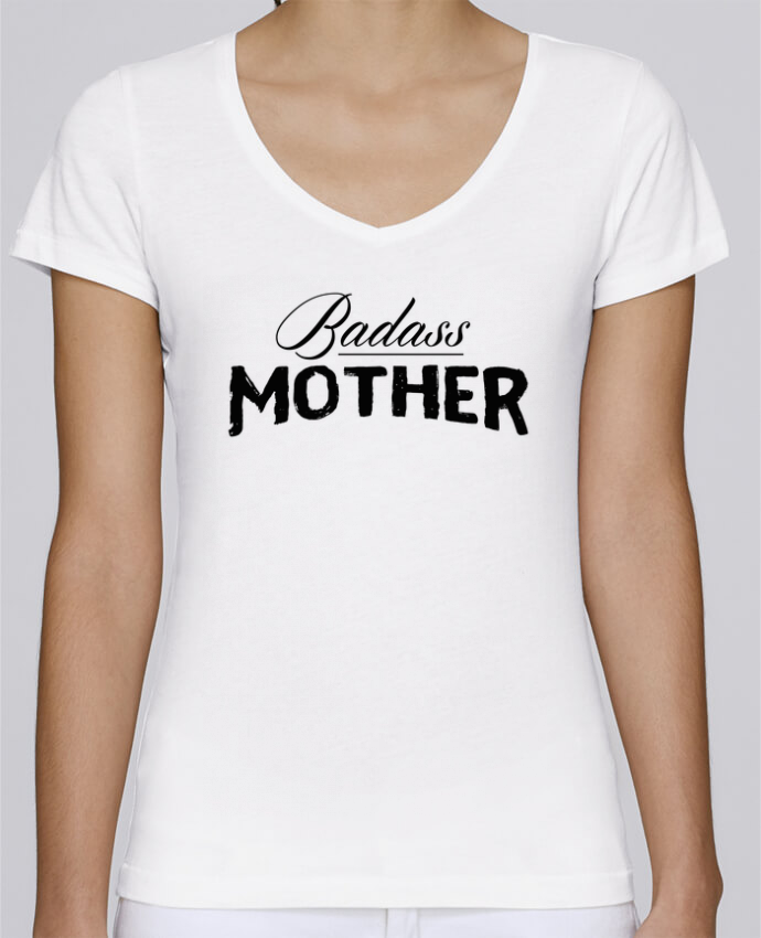 T-Shirt V-Neck Women Stella Chooses Badass Mother by tunetoo