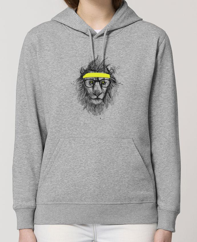 Sweat-Shirt Capuche Essentiel Unisexe Drummer Hipster Lion Par Balàzs Solti