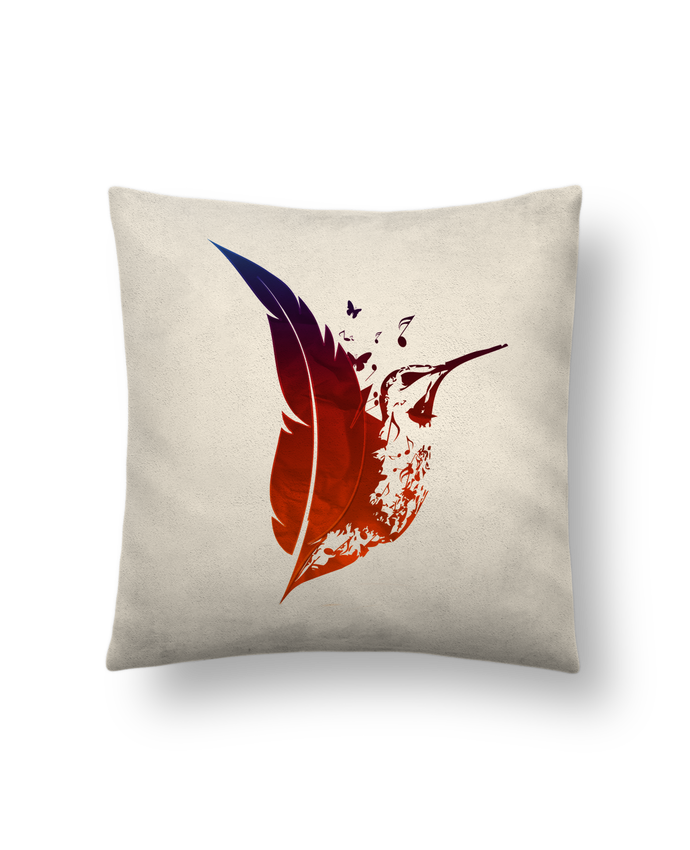 Cushion suede touch 45 x 45 cm plume colibri by Studiolupi