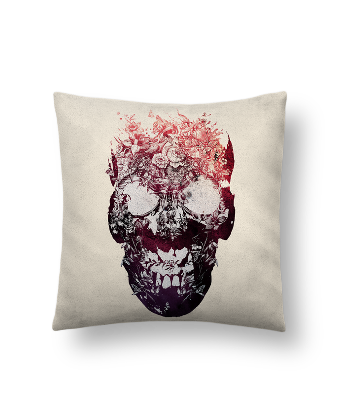Cushion suede touch 45 x 45 cm Floral skull by ali_gulec