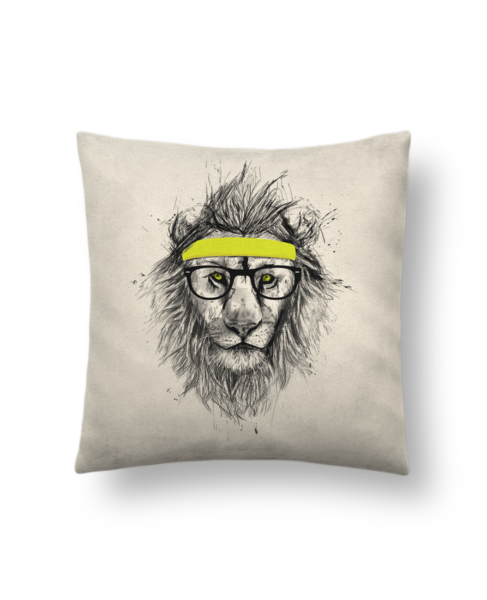 Cushion suede touch 45 x 45 cm Hipster Lion by Balàzs Solti