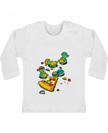 Baby T-shirt with press-studs long sleeve Pizza lover manches longues du designer flyingmouse365